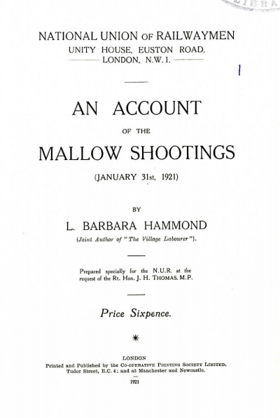 Title page of Mallow Shootings