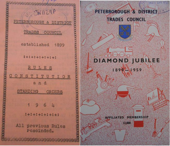 Peterborough and District Trades Council publications - Jubilee celebration and Rules book 1964