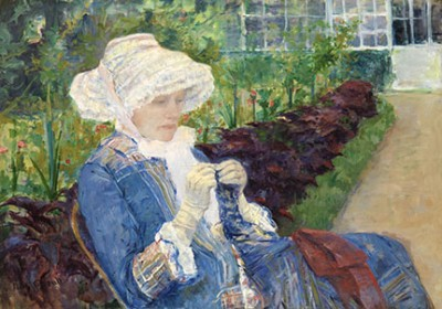painting of a lady crocheting in a garden